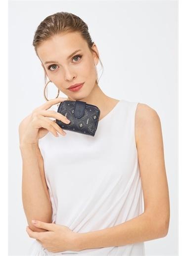 Deri Company Kadın Basic Mini Cüzdan Monogram Desenli Lacivert Beyaz (8025L) 213017 Lacivert